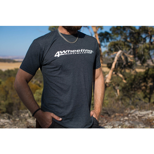Men's Premium Fitted Short Sleeve T-Shirt. with 4 wheeling Australia Logo. Colour Charcoal-Size S